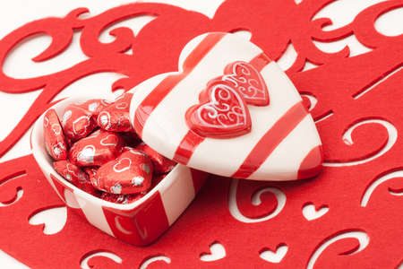 Red and White Heart Shaped Valentine Ceramic Box With Chocolate Hearts