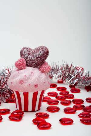 Valentines Day Cupcakes With Red and Pink Hearts