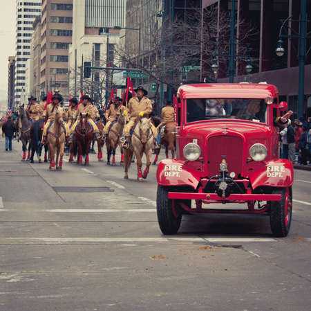 bridget calip: Denver, Colorado January 10, 2013 National Western Stock Show Parade  Vintage Fire Truck Blackhawk Fire Department Colorado With Line of Horses From the Pikes Peak or Bust Rodeo