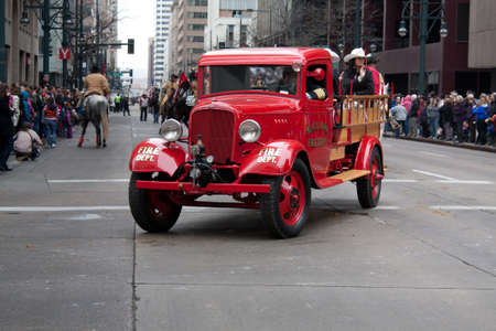 bridget calip: Denver, Colorado January 10, 2013 National Western Stock Show Parade  Vintage Fire Truck Blackhawk Fire Department Colorado