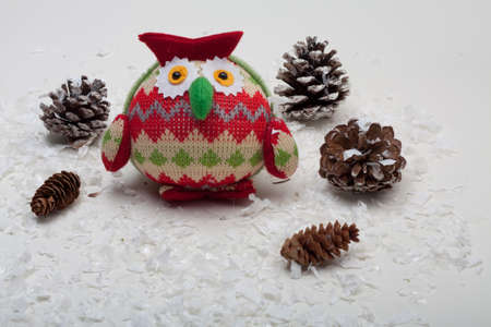Zig Zag Red, Cream and Green Owl With Pine Cone Trees and Snow Stock Photo