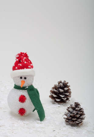 Snowman With Green Scarf and Red Hat in a Pine Cone Tree Forest With Snow Stock Photo