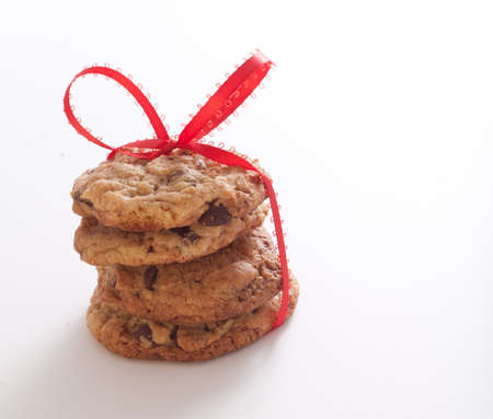 Chocolate Chip Cookies Tied With A Red Bow