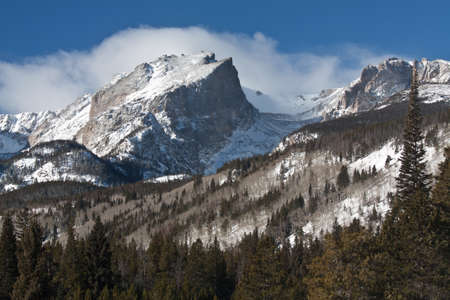 Snow Covered Hallett Peak on a Sunny Winter Morning in Rocky Mountain National Park