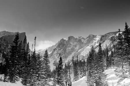 dream lake: Snow Covered Hallett Peak From Dream Lake Area on a Sunny Winter Morning in Rocky Mountain National Park