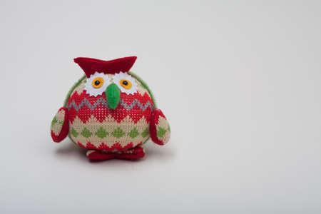 bridget calip: Owl With Zigzag Pattern on White Background Horizontal