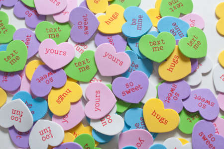 Colorful Assortment of Conversation Hearts