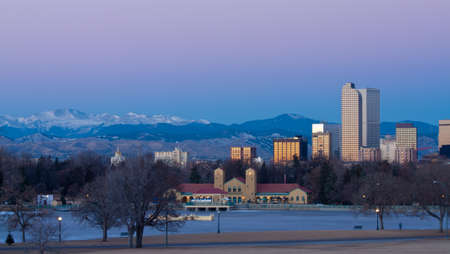 cash register building: Downtown Denver Winter Skyline From City Park