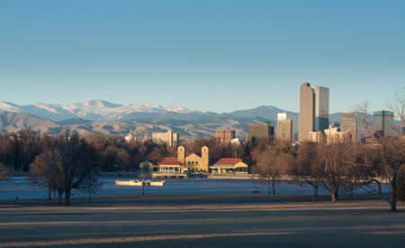 Downtown Denver Winter Skyline From City Park Stock Photo - 17755242