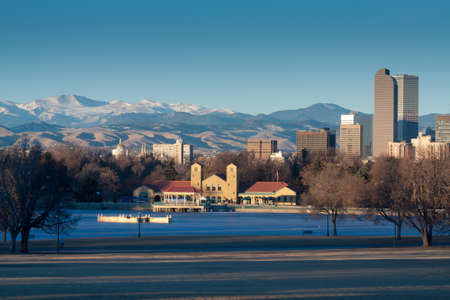 Downtown Denver Winter Skyline From City Park Stock Photo - 17755244