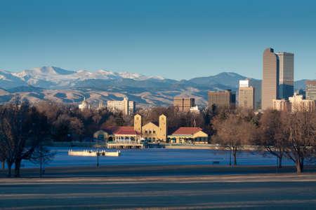 city park boat house: Downtown Denver Winter Skyline From City Park