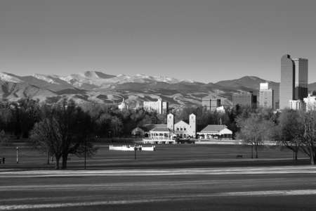 Downtown Denver Winter Skyline From City Park Stock Photo - 17755243