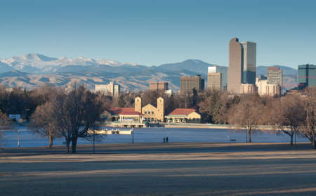 Downtown Denver Winter Skyline From City Park Stock Photo - 17755246