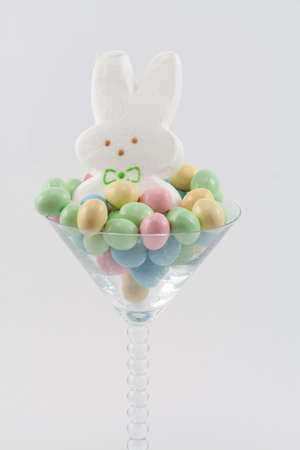 Marshmallow Easter Bunny in Martini Glass with Pastel Easter Candy Stock Photo - 18533592