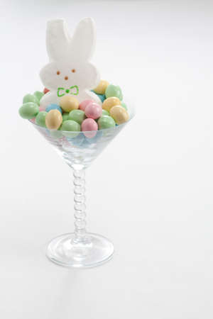 Marshmallow Easter Bunny in Martini Glass with Pastel Easter Candy
