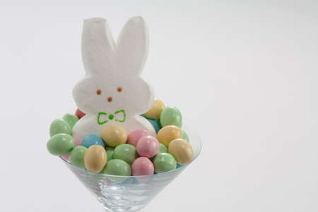 bridget calip: Marshmallow Easter Bunny in Martini Glass with Pastel Easter Candy