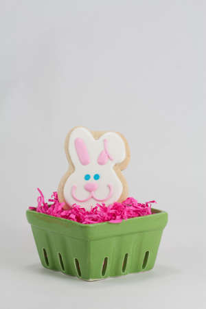 bridget calip: Easter Bunny Shaped Sugar Cookie in Pink Easter Grass and Green Crate