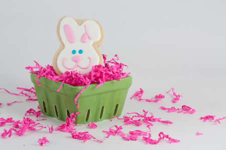 Easter Bunny Shaped Sugar Cookie in Pink Easter Grass and Green Crate Stock Photo - 18533595