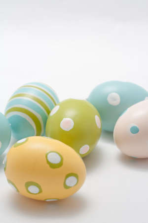 Hand Painted Easter Eggs in Pastel Colors Stock Photo