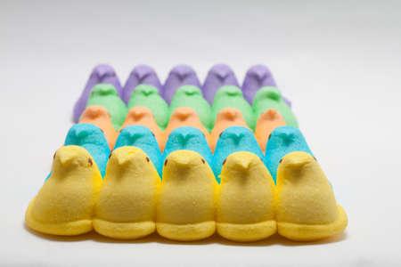 Yellow, Blue, Orange, Green and Purple Marshmallow Peep Chicks