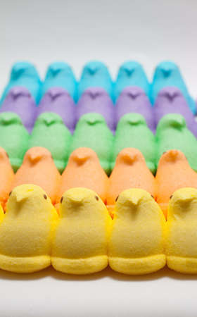 Yellow, Blue, Orange, Green and Purple Marshmallow Peep Chicks Stock Photo - 18533646