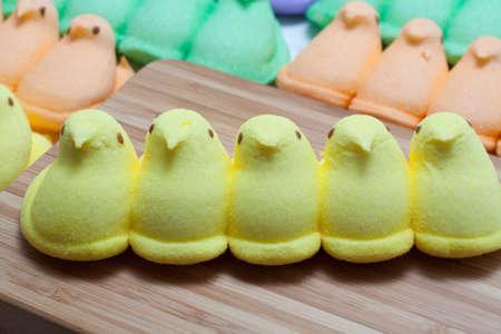 Yellow, Blue, Orange, Green and Purple Marshmallow Peep Chicks Stock Photo - 18533643