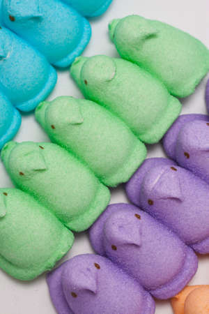 Yellow, Blue, Orange, Green and Purple Marshmallow Peep Chicks Stock Photo - 18533650