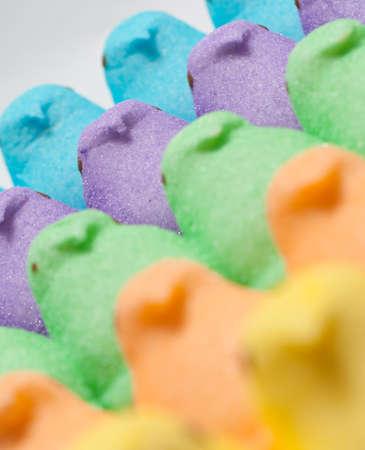 Yellow, Blue, Orange, Green and Purple Marshmallow Peep Chicks Stock Photo - 18533638