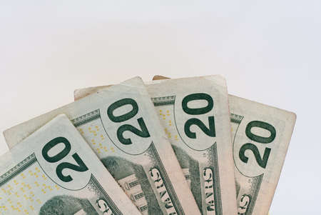 Twenty Dollar United States Currency Bill Stock Photo