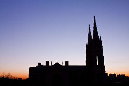 Catholic cathedral silhouette at dawn photo