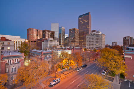 downtown denver skyline: Downtown Denver Skyline at Dawn With Autumn Colors Stock Photo