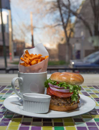 all american burger: Homemade Cheeseburger With Red Onion, Lettuce, Hand Cut Sweet Potato Fries and Ketchup Stock Photo