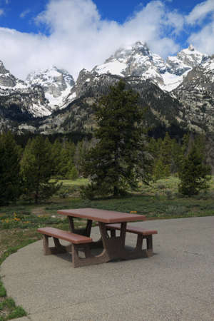 dandelion snow: Picnic Table in the Grand Tetons Section of the Rocky Mountains Stock Photo