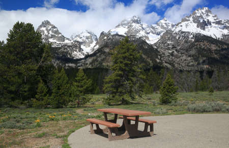 Picnic Table in the Grand Tetons Section of the Rocky Mountains Stock Photo