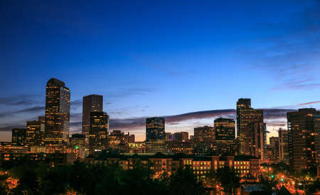 Downtown Denver Skyline During Sunset Stock Photo - 20197836
