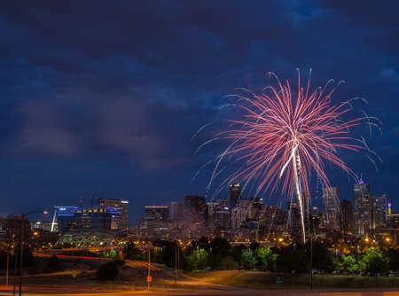 4th of July Fireworks Over Denver Skyline Stock Photo