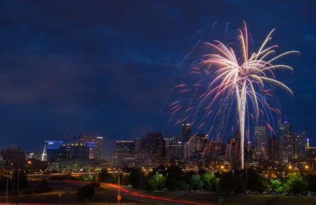 denver skyline at sunset: 4th of July Fireworks Over Denver Skyline Stock Photo