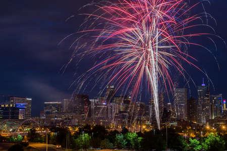 4th of July Fireworks Over Denver Skyline Stock Photo