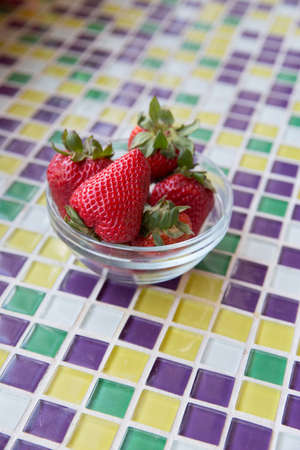 mosaic tiles: Fresh Strawberries in a Clear Bowl with Mosaic Tiles