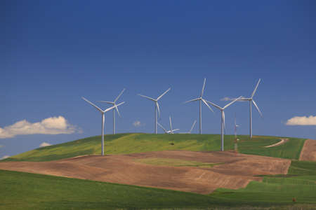 White Wind Turbines With Rolling Green Hills photo