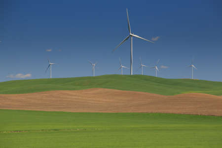 White Wind Turbines With Rolling Green Hills Stock Photo