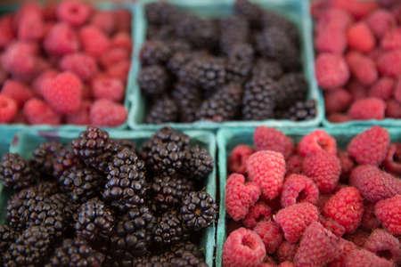 bridget calip: Fresh Picked Raspberries and Blackberries in Blue Boxes at Farmers Market