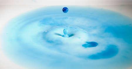 Blue Water Droplet Splashing in Milk