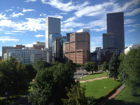 Downtown Denver Skyline Under Blue Skies