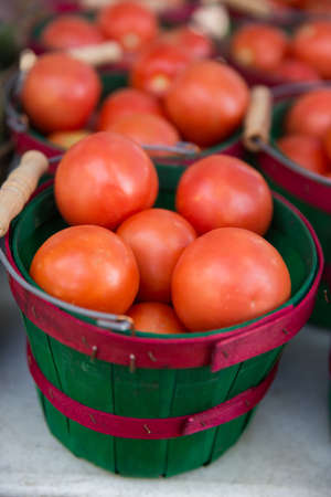 Fresh Organic Tomatoes in a Red and Green Basket at the Farmers Market