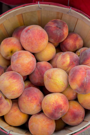 Fresh Picked Peaches in a Basket at a Farmers Market photo