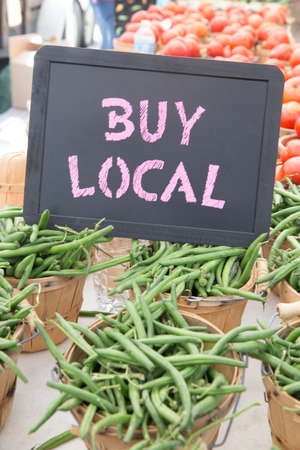Buy Local Chalkboard Sign With Bushels of Green Beans and Tomatoes For Sale at the Farmers Market
