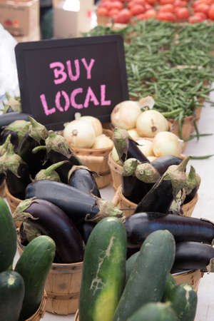 Buy Local Chalkboard With White Onions, Egg Plants, Green Beans and Tomatoes For Sale at the Farmers Market photo