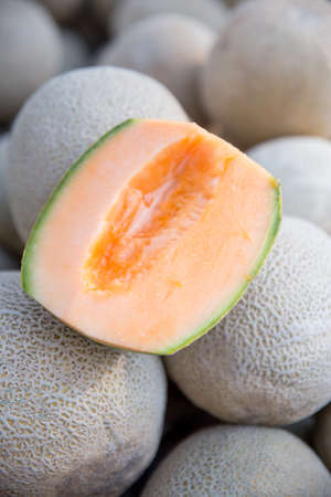 Organic Cantaloupe Melon Sliced Fresh at the Farmers Market