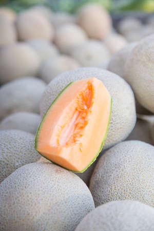 bridget calip: Organic Cantaloupe Melon Sliced Fresh at the Farmers Market